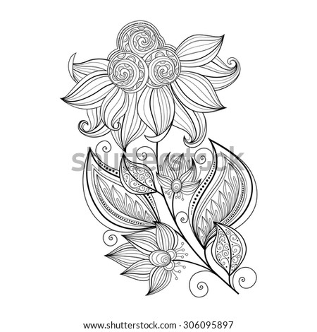 Vector Beautiful Monochrome Contour Flower, Floral Design Element - stock vector