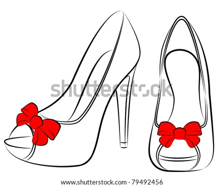Vector beautiful pair of shoes with high heel - stock vector