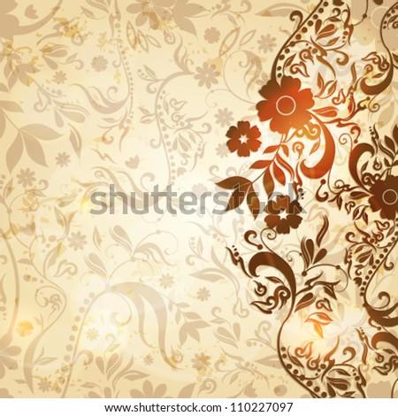 Vector beautiful vintage floral retro grunge background illustration - stock vector