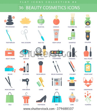 Vector beauty and cosmetics color flat icon set. Elegant style design. Beauty cosmetics icons set, Beauty cosmetics icons illustration, Beauty cosmetics icons image, Beauty cosmetics color flat icons. - stock vector