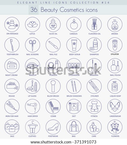 Vector beauty and cosmetics outline icon set. Elegant thin line style design. - stock vector