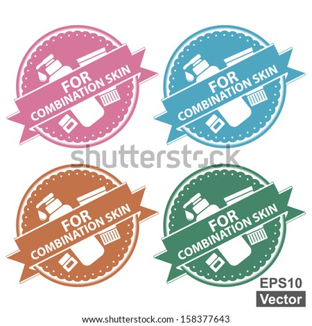 Vector : Beauty and Fashion Product Label Present By Colorful Tag, Sticker or Badge With For Combination Skin Label or Ribbon and Cosmetic Containers Sign Isolated on White Background - stock vector