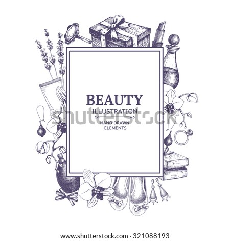 Vector beauty background with  ink hand drawn cosmetics and jeweleries illustration in lilac color. Vintage fashion seamless pattern - stock vector