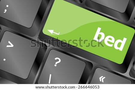vector bed word on keyboard key, notebook computer button - stock vector