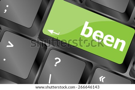 vector been word on keyboard key, notebook computer button - stock vector