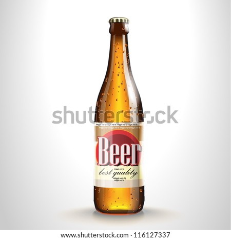 Vector beer bottle with label - stock vector