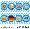Vector beer elements with oktoberfest symbol - stock vector