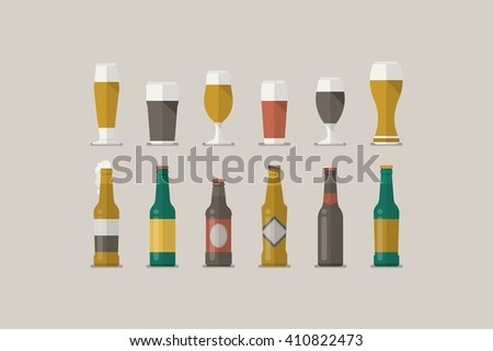vector beer glasses, flat style illustration - stock vector