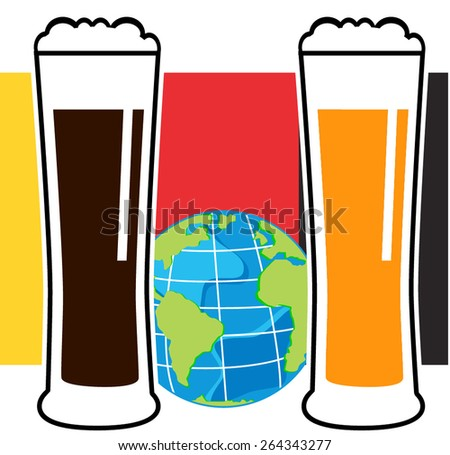 vector beer glasses on national european flag with globe - stock vector
