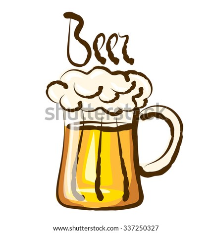 vector beer with calligraphic inscription - stock vector