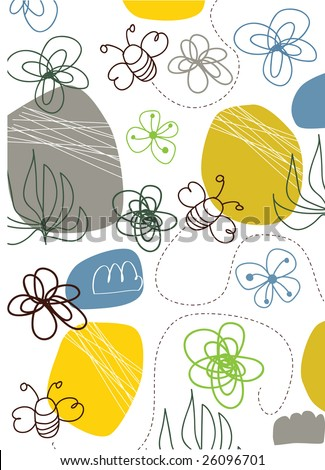 vector - bees and flower - stock vector
