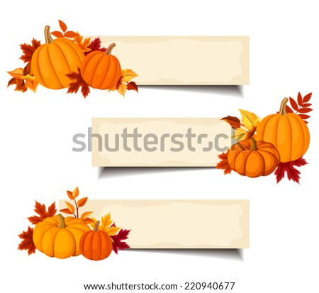Vector beige banners with orange pumpkins and autumn leaves. - stock vector