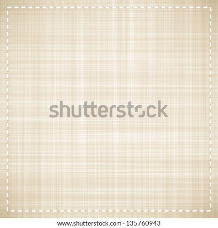 vector beige canvas texture with white thread - stock vector