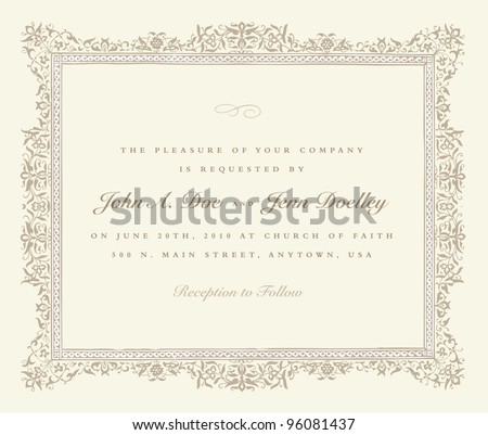 Vector Beige Ornate Frame. Easy to edit. Perfect for invitations or announcements. - stock vector