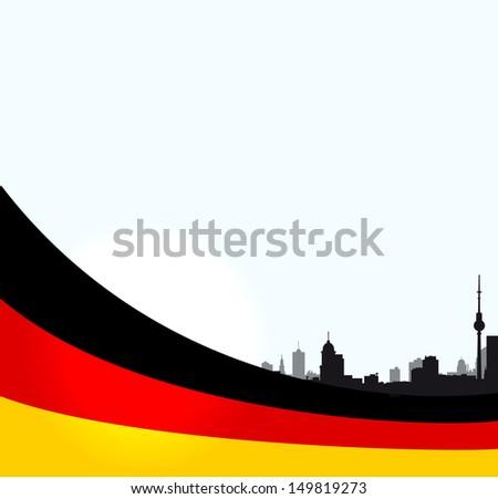 vector Berlin illustration with German flag - stock vector