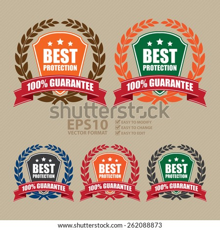 Vector : Best Protection 100% Guarantee Shield, Wheat Laurel Wreath, Ribbon, Label, Sticker or Icon - stock vector
