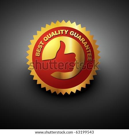 vector best quality label in golden color - stock vector
