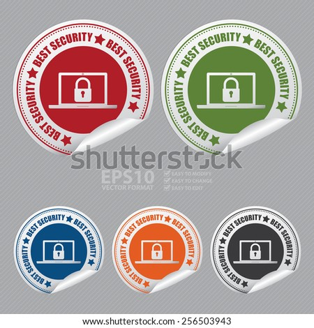 Vector : Best Security Sticker, Icon or Label  - stock vector