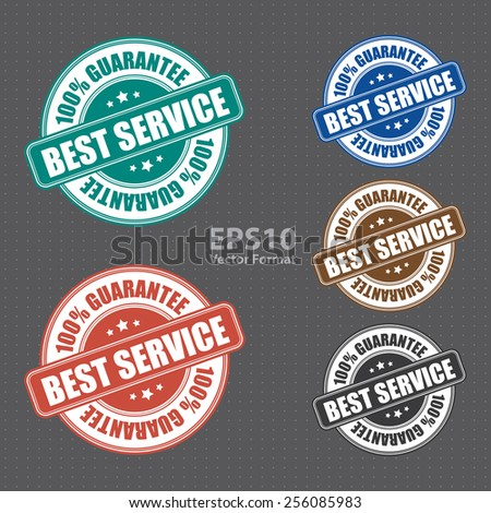 vector : best service 100% guarantee icon, tag, label, badge, sign, sticker - stock vector
