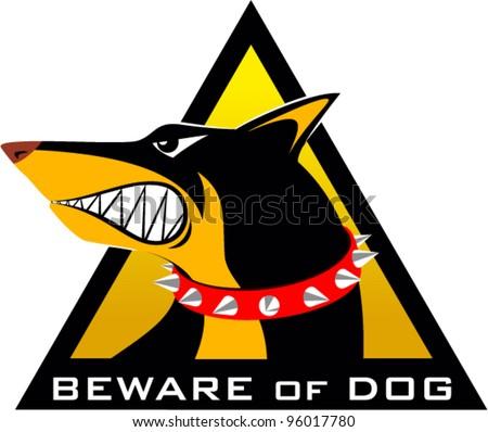 vector beware of dog sign - stock vector