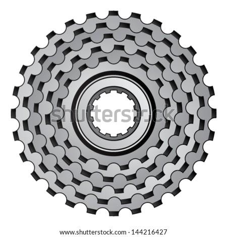 vector bicycle gear cogwheel sprocket icon  - stock vector