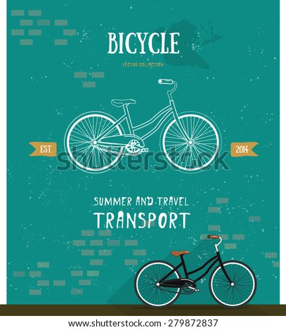 Vector bicycle logo. Thin line icon for logo, web, mobile, poster, t-shirt. Flat style. Bicycle logo illustration. Summer and travel transport icon. Stylish brickwork background. - stock vector