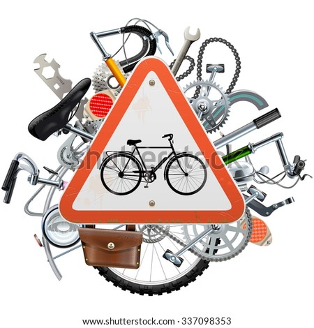 Vector Bicycle Spares Concept with Triangle Sign - stock vector