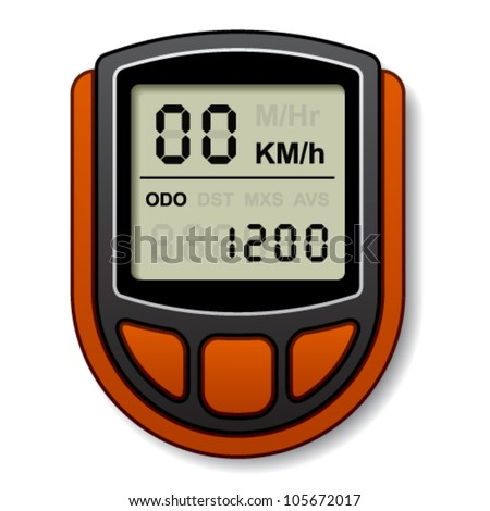 vector bicycle speedometer computer - stock vector
