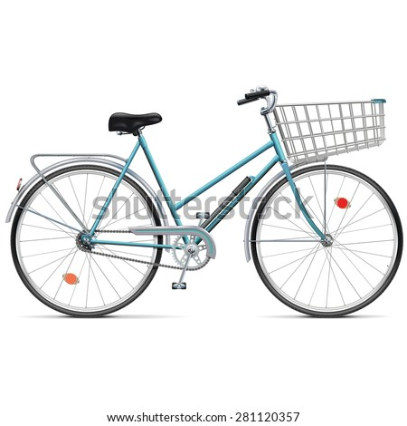 Vector Bicycle with Cart - stock vector
