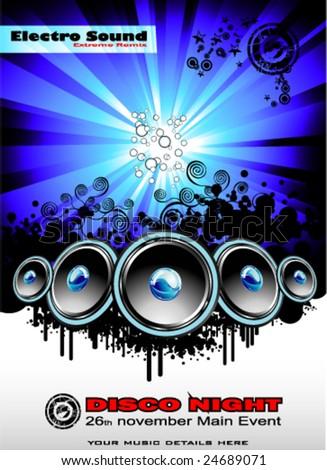 VECTOR Big musical Event Disco Night template - stock vector