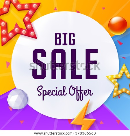 Vector big sale cover with elements, on colorful background - stock vector