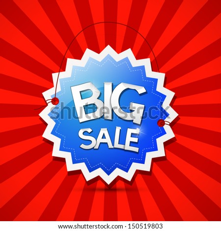 Vector Big Sale Icon - Blue Label on Red Background  - stock vector