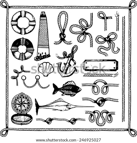 Vector big set of marine rope fish lighthouse compass shell lifeline - stock vector