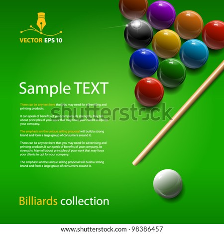Vector billiards collection - stock vector