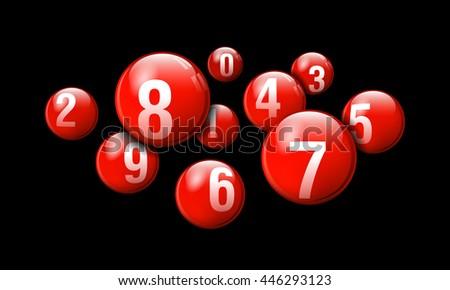 Vector Bingo / Lottery Number Balls Red Set on Black Background - stock vector