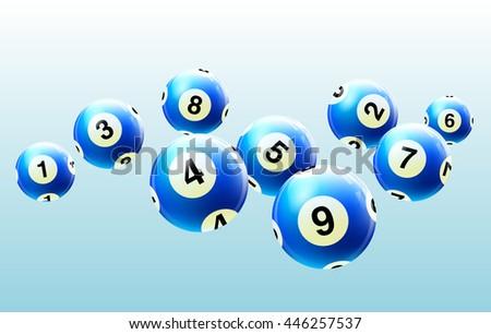 Vector Bingo / Lottery Number Balls Set Blue - stock vector