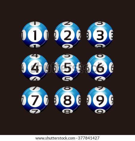 Vector Bingo / Lottery Number Blue Balls Set on Black - stock vector