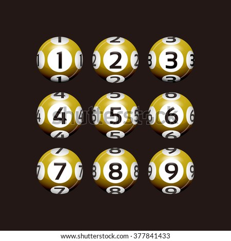 Vector Bingo / Lottery Number Yellow Balls Set on Black - stock vector