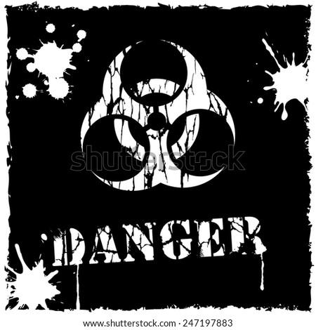Vector biohazard icon black and white - stock vector
