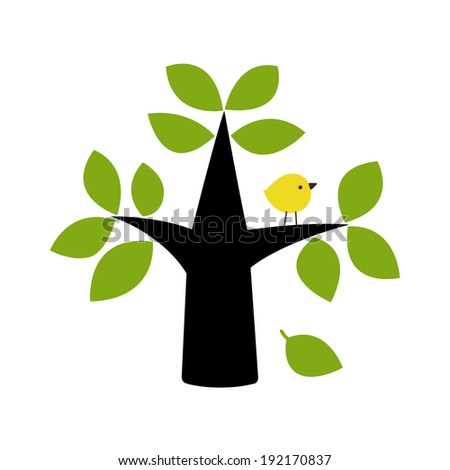 vector birds and tree card design  - stock vector