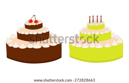 Vector birthday cake  - stock vector