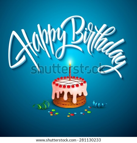 vector birthday cake with candles EPS 10 - stock vector