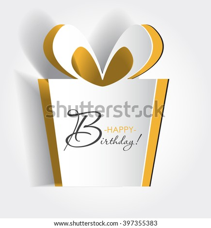 Vector birthday card. Background or symbol with cut out yellow element. Simple  box illustration with beveled edges. Modern idea. Creative concept. Template collection for poster,banner,gift, greeting - stock vector