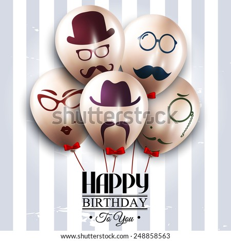 Vector birthday card. Balloons with silhouettes on hipster style. Mustaches. - stock vector