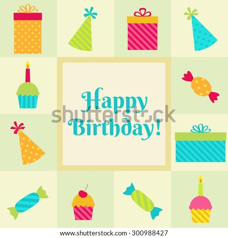Vector birthday card or party invitation with cupcakes, sweets, presents and hats.  - stock vector