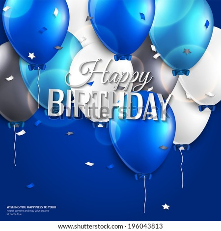 Vector birthday card with balloons and birthday text on blue background. - stock vector
