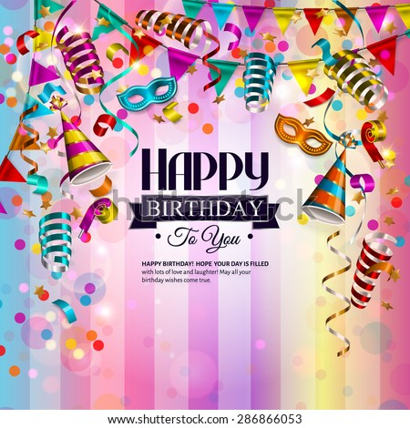Vector birthday card with colorful curling ribbons, birthday mask, hat and confetti. - stock vector