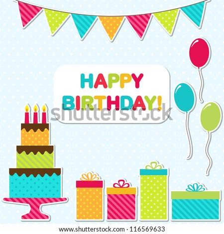 Vector birthday party card - stock vector