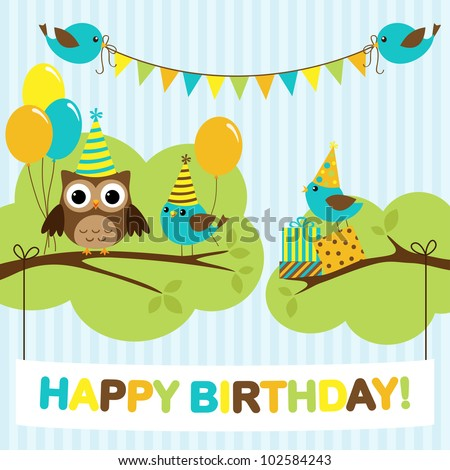 Vector birthday party card with cute birds and owl on trees - stock vector