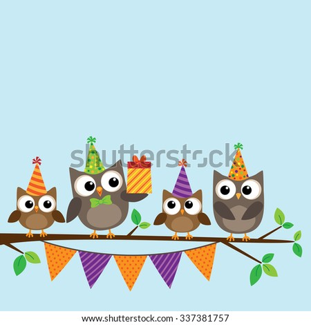 Vector birthday party card with cute family of owls on tree - stock vector